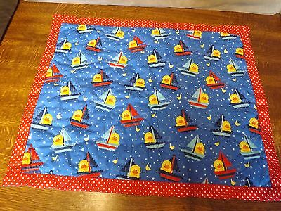Baby/ Dolls Pram Hand Sewn Embroidered Cover,  Ducks And Sailing Boats Fabric.