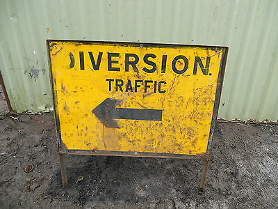 METAL Free STANDING Highway Traffic A-BOARD ROADSIGN Road Sign - DIVERSION LEFT