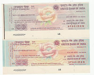 UNITED BANK OF INDIA SPECIMEN GIFT  CHEQUES  .Rfno.32.