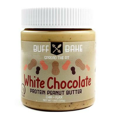 NEW Buff Bake Protein Peanut Butter White Chocolate Spread Whey Natural Flax