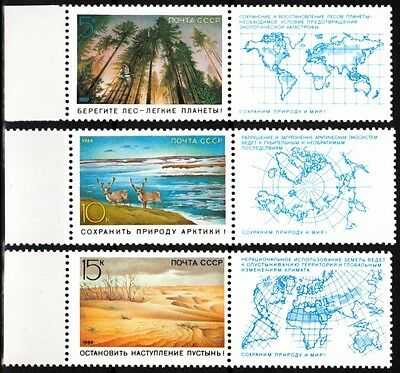 USSR (RUSSIA) 1989 Nature: Arctic, Forest, Desert, Maps. Labeled Pairs (**)