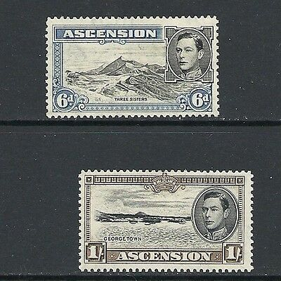 1938 King George VI SG43C 6d,  & SG44a A 1 shilling  Mint Hinged ASCENSION