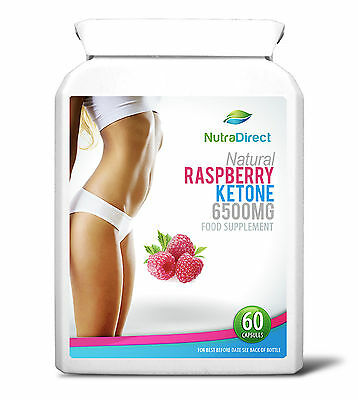 60 x Natural Raspberry Ketones 6500mg vegetarian capsules