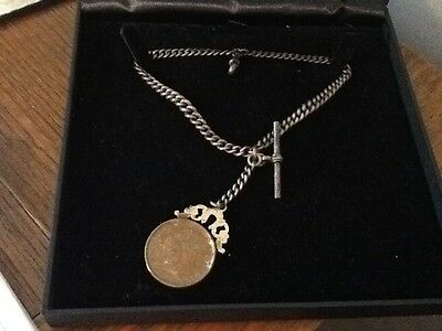 Antique Hallmarked silver pocket watch chain with georgian coin Fob