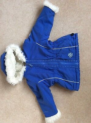 Girls Blue Long Sleeves Hooded Coat with fur trim for 2-3 yrs. old used
