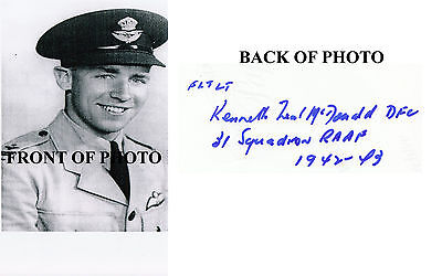 AUSTRALIAN WWII ACE RAAF Kenneth McDonald 5 Vic SIGNED 4x6 PHOTO AUTOGRAPHED