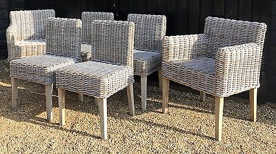 Set Of Six Sempre Cleybergh Designer Grey Wicker Conservatory Dining Chairs