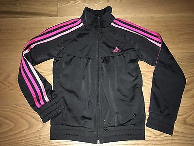 Girls Pink  & Black Adidas Tracksuit Top Jacket. 3 Stripe Age 9-10 Years