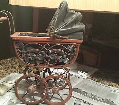 Baby Doll Carriage - Ornate Scrolling Canvas Folding Canopy