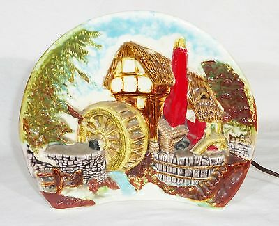 Vintage mid century TV ceramic lamp planter country house water mill