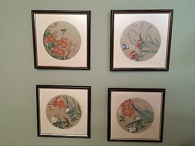 Set of 7 Chinese Handpainted on Silk Paintings Framed Oriental Chinoiserie