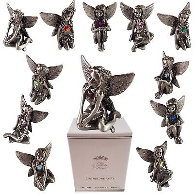 Pewter Fairy Birthstone Collectables Fairies Gemstone Home Ornament Gift Boxed
