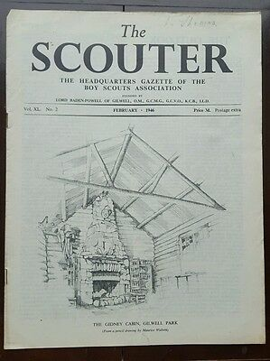 The Scouter, Feb. 1946, with Gidney Cabin, Gilwell Park pencil drawing cover