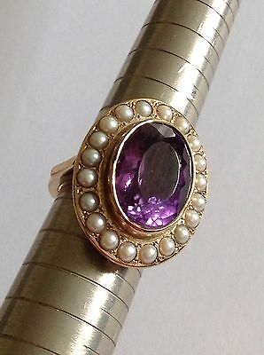 Fine Attractive Edwardian Large Oval 9ct Gold Natural Amethyst & Seed Pearl Ring