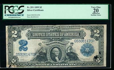 AC Fr 251 1899 $2 Silver Certificate PCGS 20 apparent