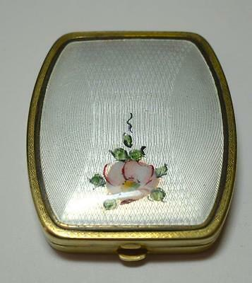 Vintage  White Guilloche Enamel w Pink Roses Compact