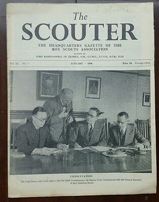 The Scouter, Jan. 1946, Front Cover photo of Consultation in Committee Room