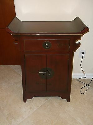 Asian Chinese Brown Wooden Narrow Cabinet Side Alter Table Drawers Brass Painted