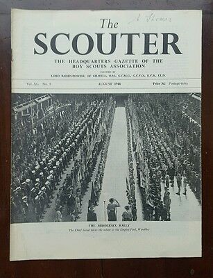 The Scouter, Aug.1946, with Chief Scout at Middlesex Rally, Wembley front cover