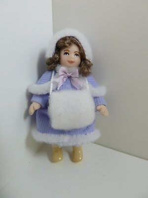 Dolls House Miniature 1:12 Scale Handmade Girl Doll Dressed in Lilac