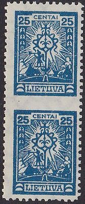 Lithuania 1923bMi 213 Pair Variety - Imperforated at middle MNH OG