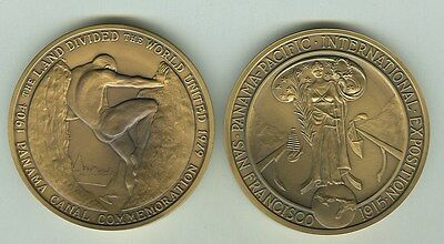 1915 Panama-Pacific Expo.Panama Canal (2) Commemative Medals ,  #100 & #1000