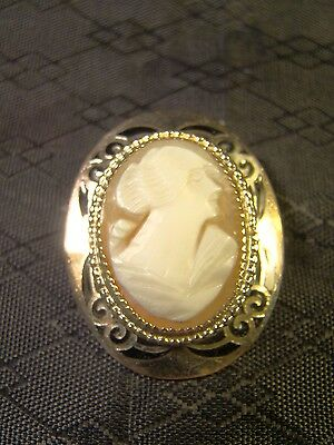Vintage Victorian Genuine Carved Shell Black Enamel Cameo Pin Brooch
