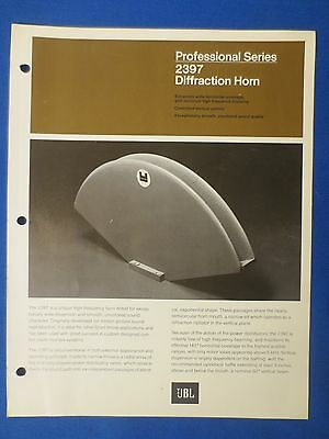Jbl Pro Series 2397 Diffraction Horn Sales Brochure Original The Real Thing