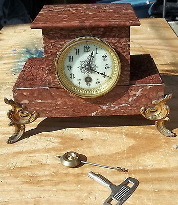 Fancy Antique Marble French Mantel Table Clock Key Wind