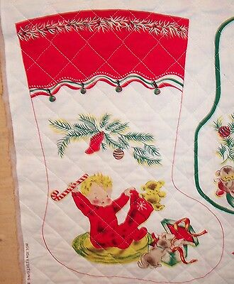 RARE! Sew Printed Vintage Quilted Fabric Make 4 Christmas Stockings-8 Bibs 1950s