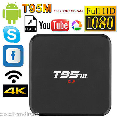 XBMC T95M Quad Core Android 6.0 8GB Smart TV Box Fully Loaded Free Sports Movies
