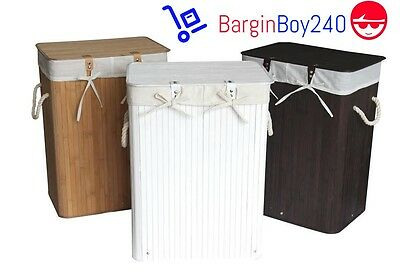 BRAND NEW  Rectangular Folding Bamboo Laundry Basket with Lid and Cloth Liner