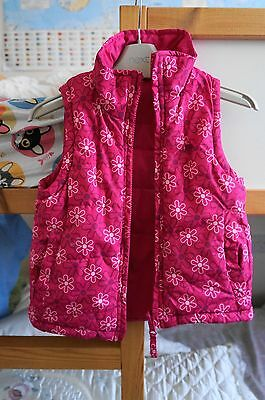 Trespass Girls Reversible Gilet Bodywarmer Pink Floral Print Age 4-5 Years