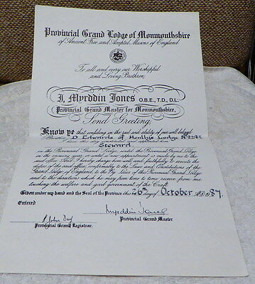 Masonic certificates: Prov Grand Lodge of Monmouthshire Stewards Certificate