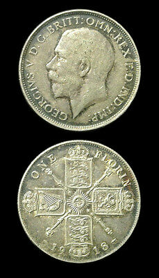 1918 Great Britain Silver Florin - George V - XF