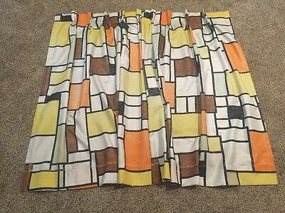 Vintage MCM Retro Pair Fiberglass Fabric Curtains Orange Brown Stained Glass