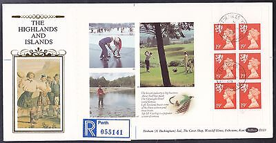Gleneagles Golf Booklet Pane Benham First Day Cover with Gleneagles Hotel CDS