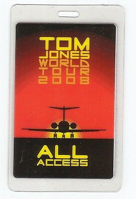TOM JONES Laminated Backstage Pass 2008 ALL ACCESS PERRI collectible