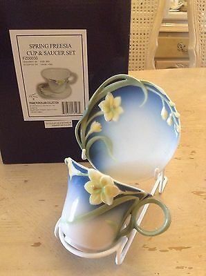 New Boxed Franz Porcelain Cup & Saucer Blue Spring Freesia Mint Condition Unused