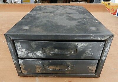 Small Vintage 2-Drawer Tin Parts or Odds & Ends Box