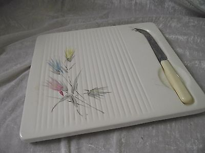 SylvaC ceramic cheese board  c60s-70s FLORAL PATTERN PLUS vintage cheese KNIFE