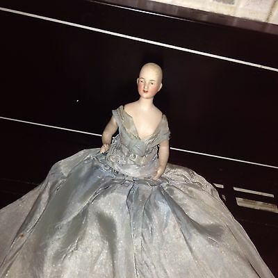 Antique Bisque Jointed Pincushion Doll In Silk Dress