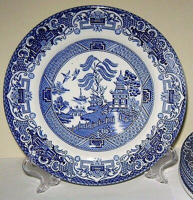 4 English Ironstone Pottery,  'Old Willow' side plates, good vintage condition.