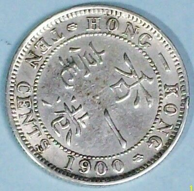 Hong Kong 10 Cents 1900 H Extra Fine Plus  0.8000 Silver Coin