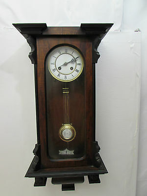 Antique Vienna Style Chiming Wall Clock Enamel Face & Pendulum Centre Fully Runs