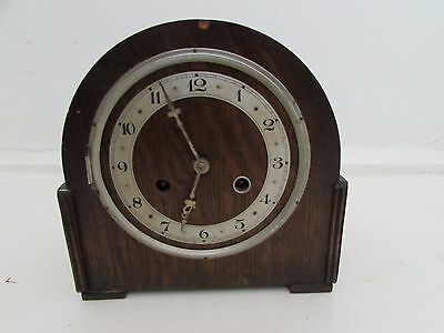 Antique British Made Veneered Chiming Mantel Clock For Spares & Repairs