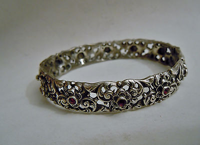 RARE old Russian 84 Silver Bracelet with Garnet, Romanov dynasty period
