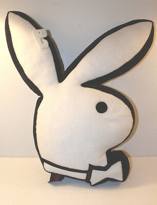 Playboy Bunny Shaped Pillow Plush White Fur Black Outline Large 21 x 11 inches