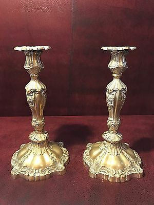 Pair Vintage Solid Brass Altar Candlesticks Candle Holders 10 3/4""