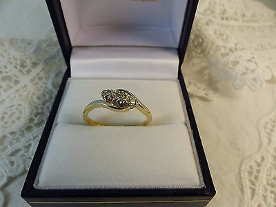 Vintage 18ct Gold & Platinum Three Stone Diamond Ring,0.15ct Size N 1/2